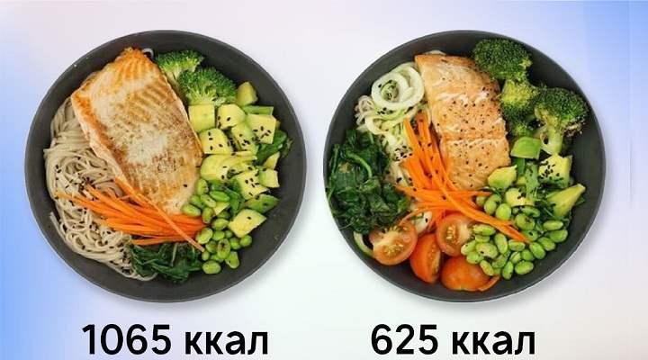 Пример распределения продуктов на день из расчета 1700 ккал, по 100ккал порция: