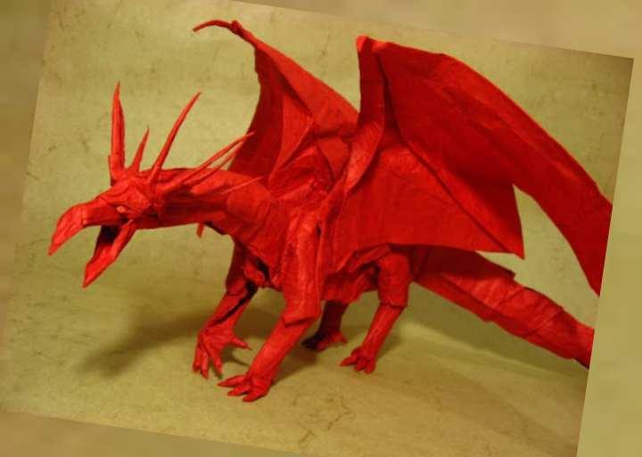 красный дракон-оригами