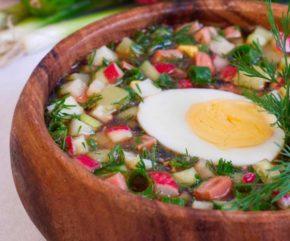 Рецепт классической окрошки с колбасой